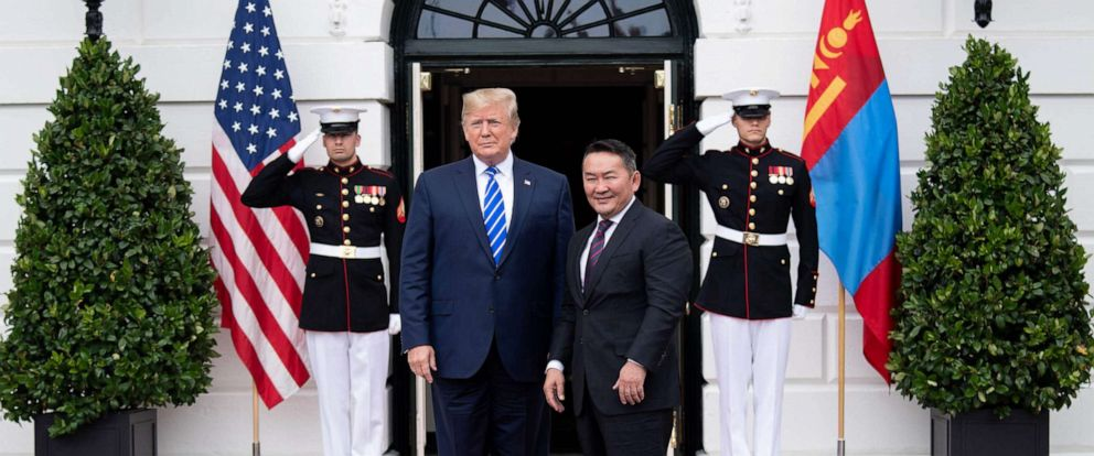 PHOTO: President Donald Trump welcomes Mongolian President Khaltmaa Battulga to the White House in Washington, D.C., on July 31, 2019.