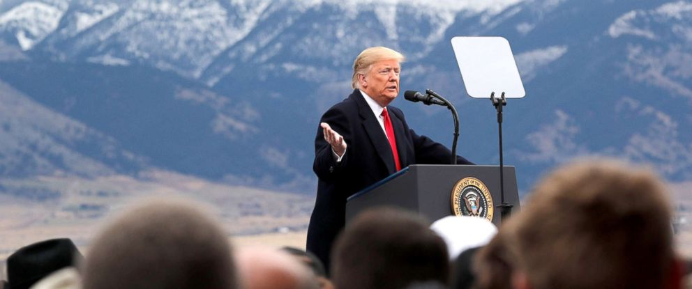 PHOTO: President Donald Trump at a campaign rally at Bozeman Yellowstone International Airport, Nov. 3, 2018, in Belgrade, Mont.