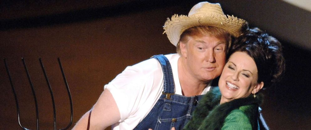 "PHOTO: Donald Trump and Megan Mullally perform the ""Green Acres"" theme song for Emmy Idol in Los Angeles, Sept. 18, 2005."