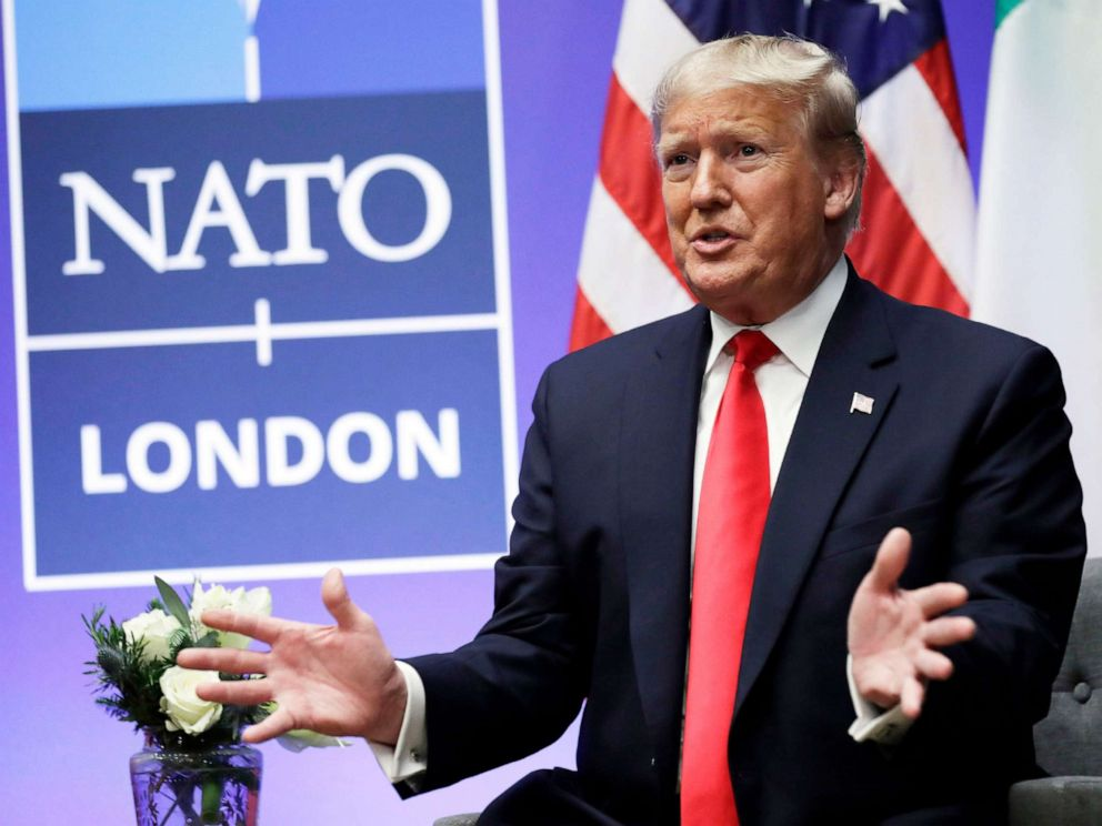 PHOTO: President Donald Trump meets with Italian Prime Minister Giuseppe Conte during the NATO summit at The Grove, Dec. 4, 2019, in Watford, England.