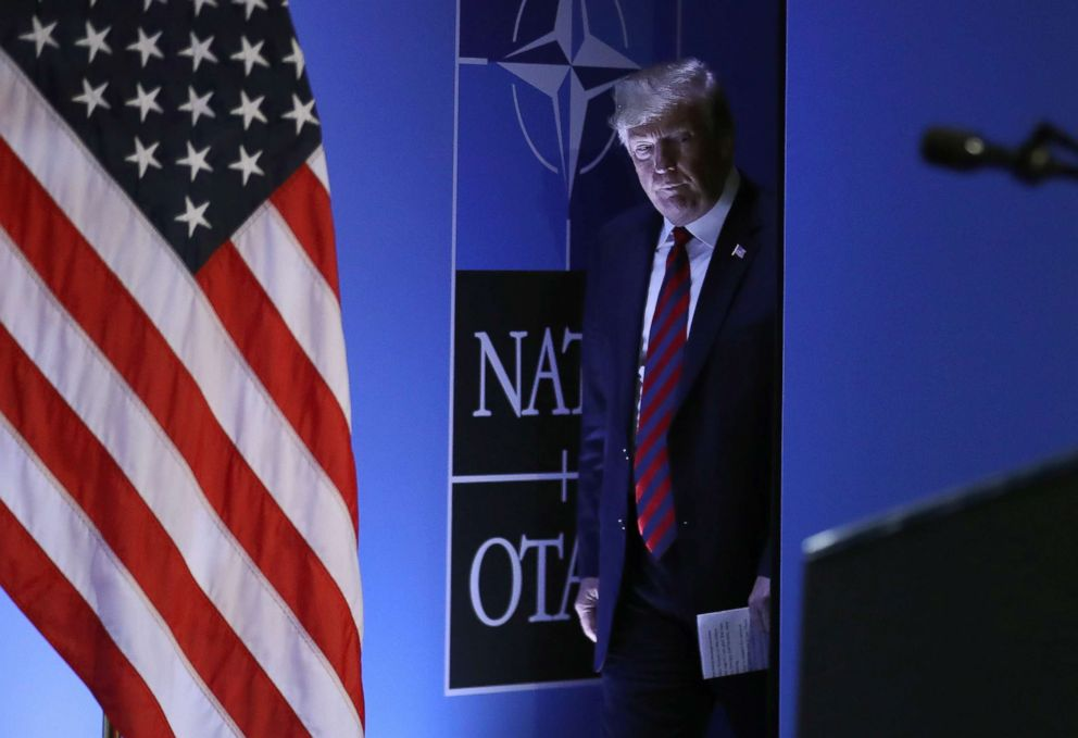PHOTO: President Donald Trump arrives for a press conference on the second day of the 2018 NATO Summit on July 12, 2018 in Brussels, Belgium.