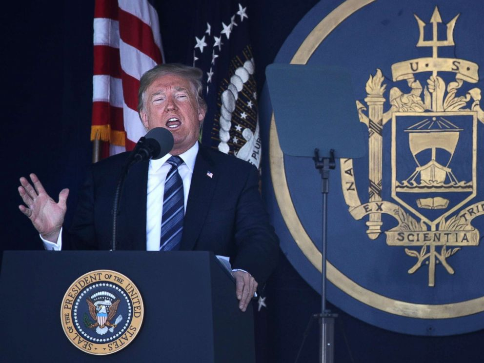 U.S. Naval Academy graduation; Trump delivers remarks
