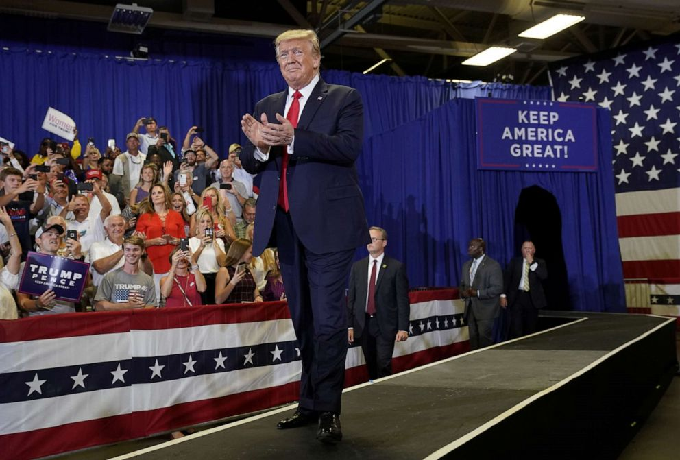 PHOTO: President Donald Trump holds a campaign rally in Fayetteville, N.C., Sept. 9, 2019.