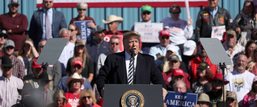 PHOTO: President Donald Trump addresses the audience during a campaign rally at Elko Regional Airport in Elko, Nev., Oct. 20, 2018.