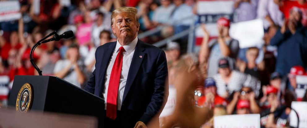 PHOTO: President Donald Trump speaks during a campaign rally at the Santa Ana Star Center, Monday, Sept. 16, 2019, in Rio Rancho, N.M.