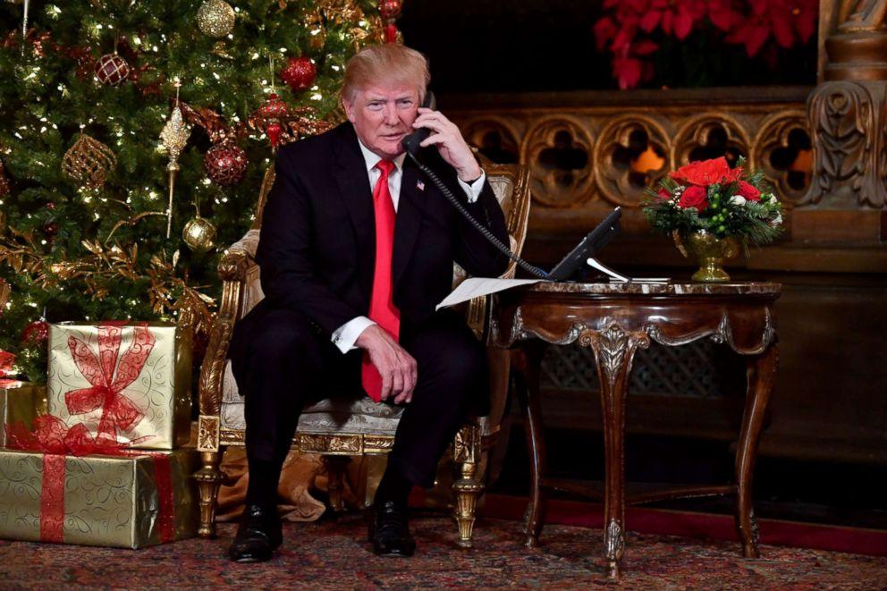 PHOTO: President Donald J. Trump participates in NORAD Santa Tracker phone calls at the Mar-a-Lago resort in Palm Beach, Florida, Dec. 24, 2017.