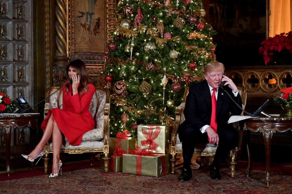photo president donald j trump and the first lady melania trump participate in norad - Melania Trump Christmas Decorations