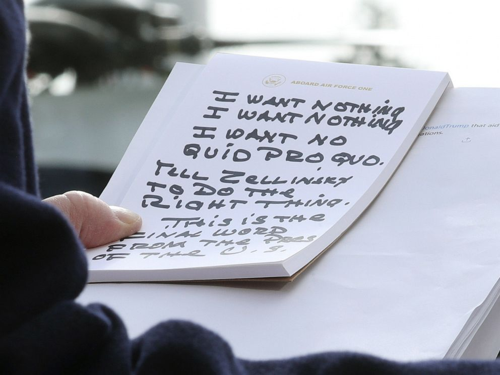 PHOTO: President Donald Trump holds his notes while speaking to the media before departing from the White House, Nov. 20, 2019. President Trump spoke about the impeachment inquiry hearings currently taking place on Capitol Hill.