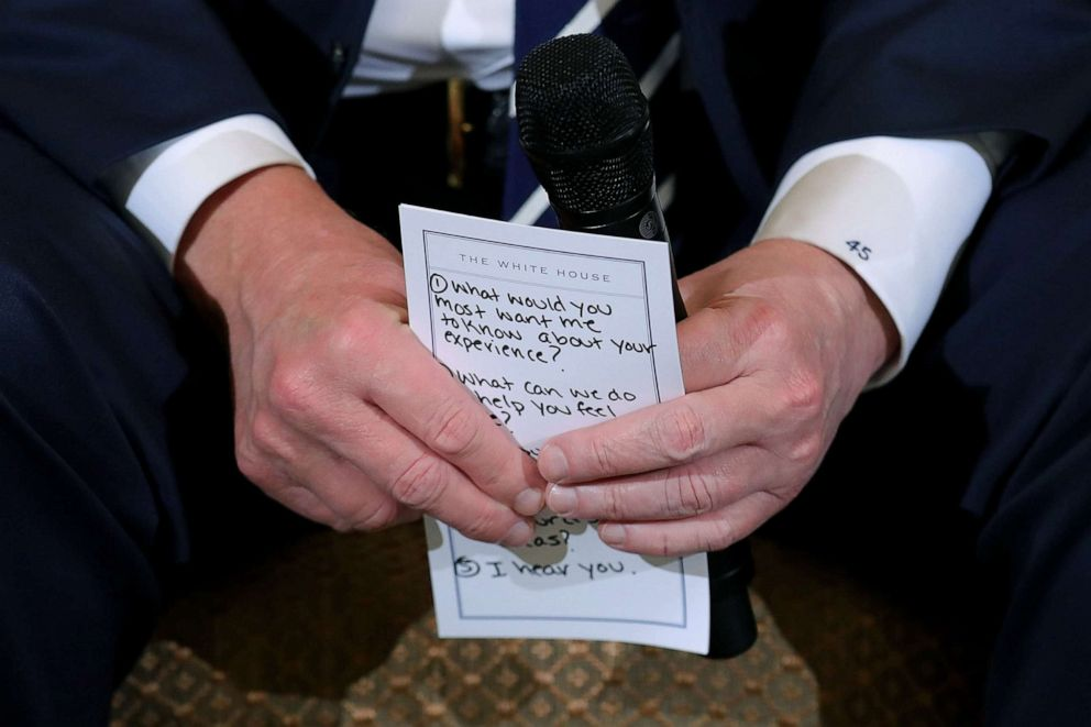 PHOTO: President Donald Trump holds his notes while hosting a listening session with students survivors of mass shootings in the State Dining Room at the White House, Feb. 21, 2018, after the mass shooting at Marjory Stoneman Douglas High School.