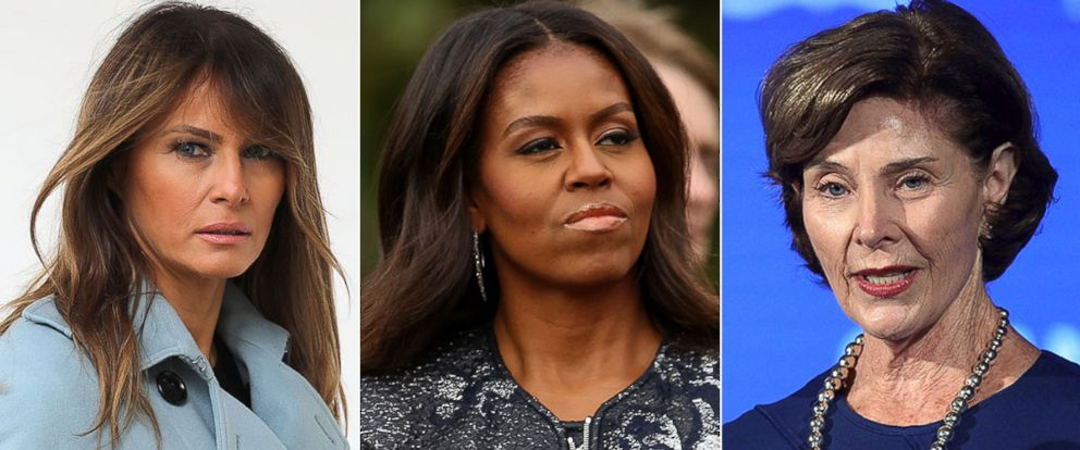 PHOTO: First lady Melania Trump, left, Michelle Obama and Laura Bush