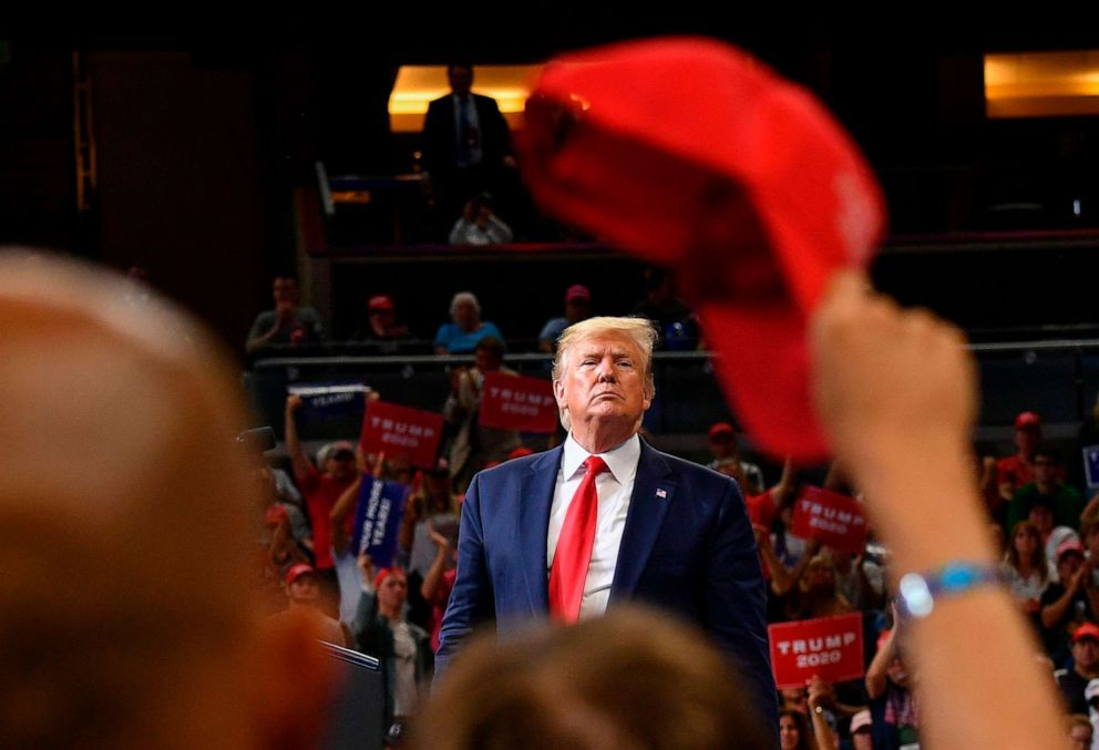 PHOTO: President Donald Trump speaks during a rally at the Amway Center in Orlando, Fla., to officially launch his 2020 campaign on June 18, 2019.