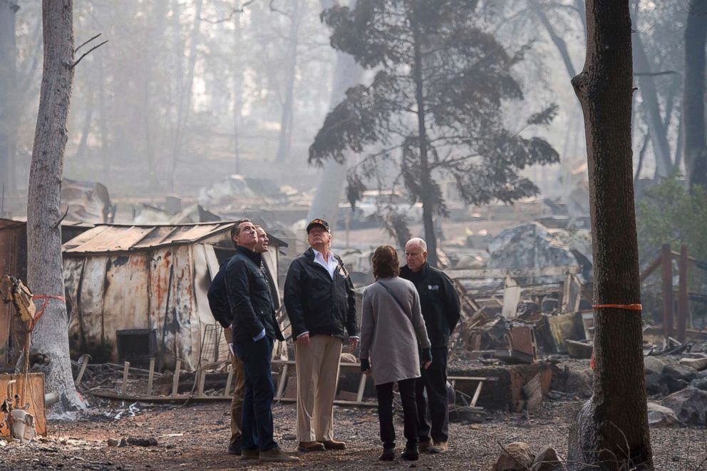 PHOTO: Gov.-elect Gavin Newsom, FEMA Director Brock Long, President Donald Trump, Paradise mayor Jody Jones and Gov. Jerry Brown tour the Camp Fire in Paradise, Calif., Nov. 17, 2018, in Chico, Calif.