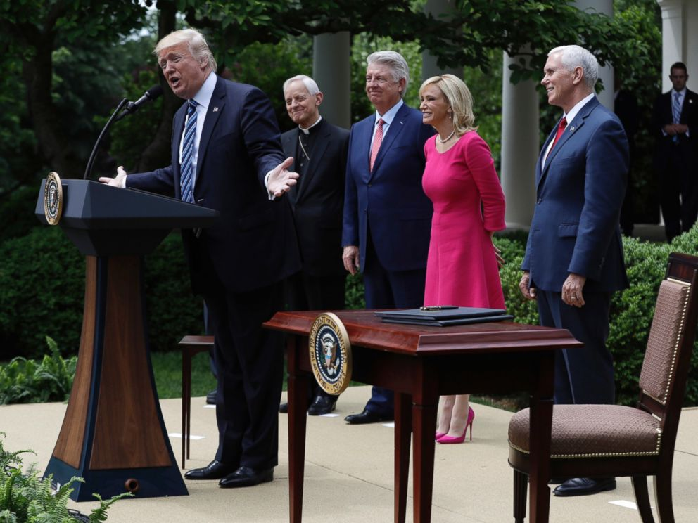 PHOTO: In this Thursday, May 4, 2017 file photo, President Donald Trump speaks in the Rose Garden of the White House in Washington, before signing an executive order aimed at easing an IRS rule limiting political activity for churches.