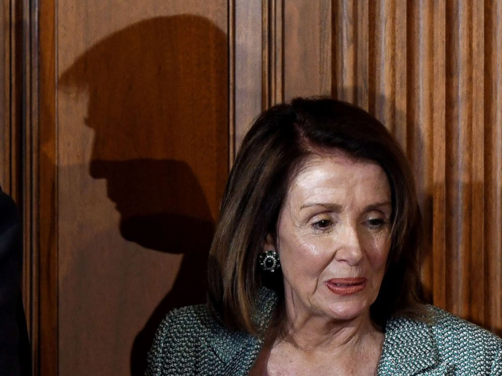 The Shadow of President Donald Trumps is visible behind the house speaker Nancy Pelosi for US Irish sister friends in the US Captain in 2019 March 14 Washington
