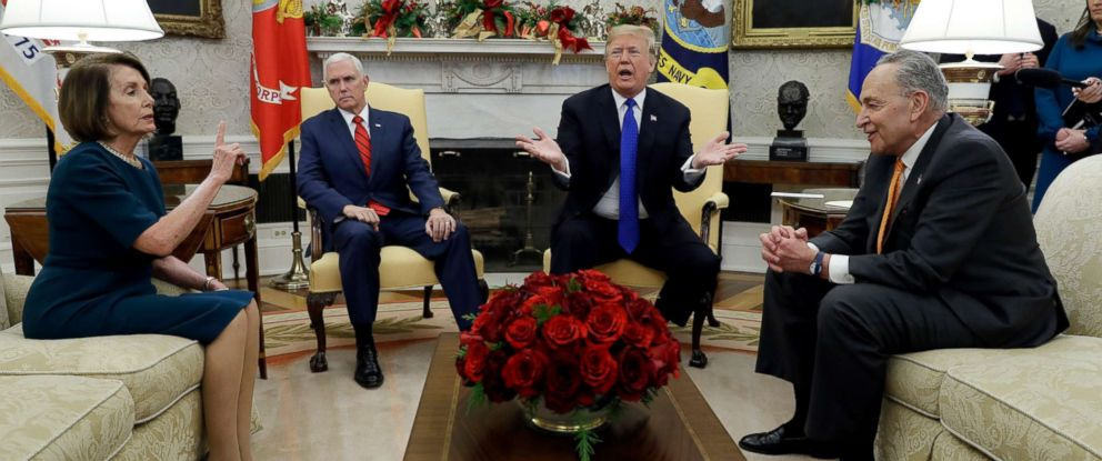 PHOTO: President Donald Trump and Vice President Mike Pence meet with Senate Minority Leader Chuck Schumer and House Minority Leader Nancy Pelosi in the Oval Office of the White House, Dec. 11, 2018, in Washington.