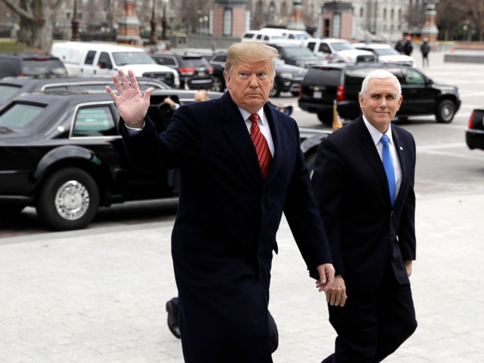 PHOTO: In this Jan. 9, 2019, photo, President Donald Trump arrives with Vice President Mike Pence to attend a Senate Republican policy lunch on Capitol Hill in Washington.