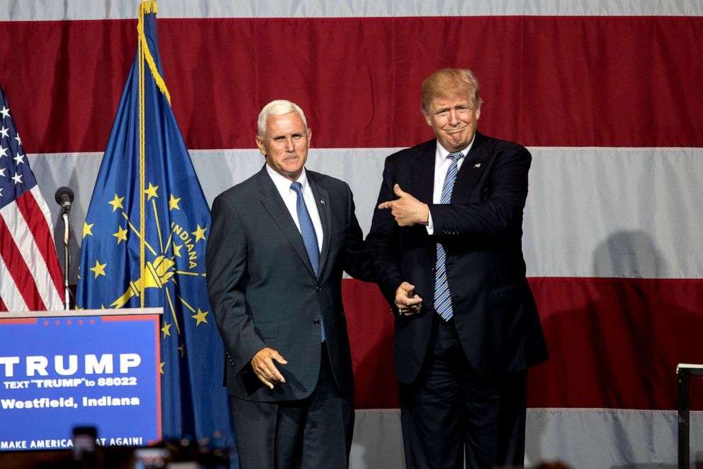 PHOTO: Republican presidential candidate Donald Trump greets Indiana Gov. Mike Pence at the Grand Park Events Center, July 12, 2016, in Westfield, Ind.