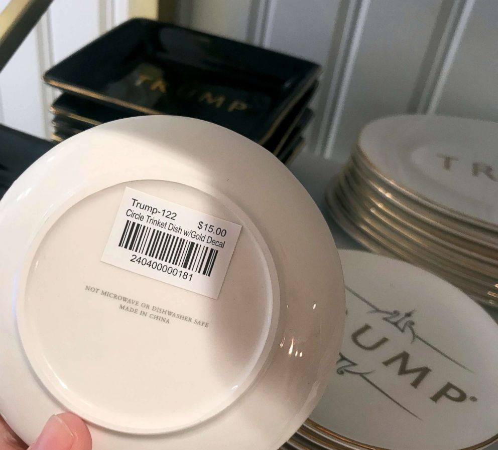 "Trump circle trinket dish sold in the gift shop at Trump International Hotel in Washington, D.C. The trinket has ""Made in China"" label under the dish."