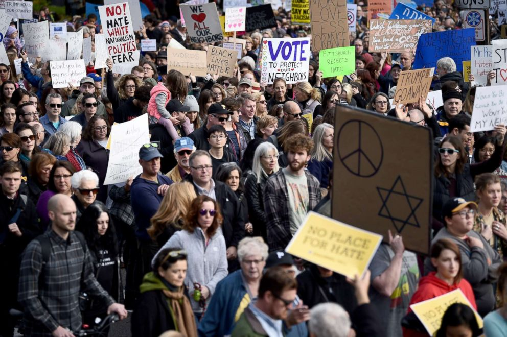 PHOTO: People protest the arrival of US President Donald Trump as he visits the Tree of Life Congregation, Oct. 30, 2018, in Pittsburgh, Pennsylvania.