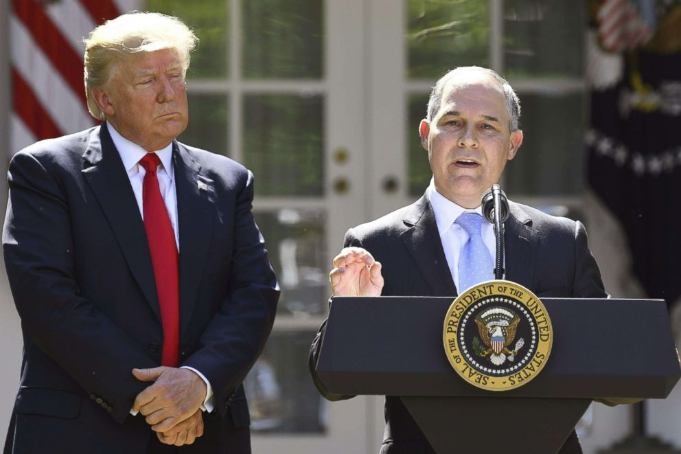 PHOTO: President Donald Trump listens while Environmental Protection Agency Administrator Scott Pruitt speaks after announcing the the withdrawal from the Paris accord in the Rose Garden of the White House, June 1, 2017.