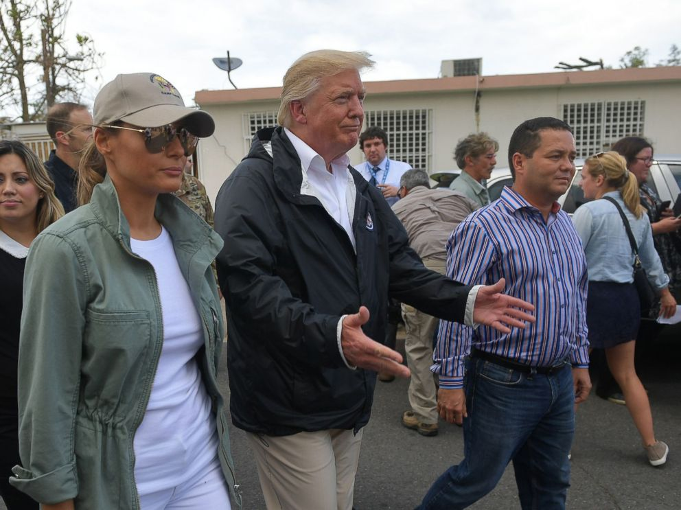 PHOTO: President Donald Trump and First Lady Melania Trump visit residents affected by Hurricane in Guaynabo, west of San Juan, Puerto Rico on Oct. 3, 2017.