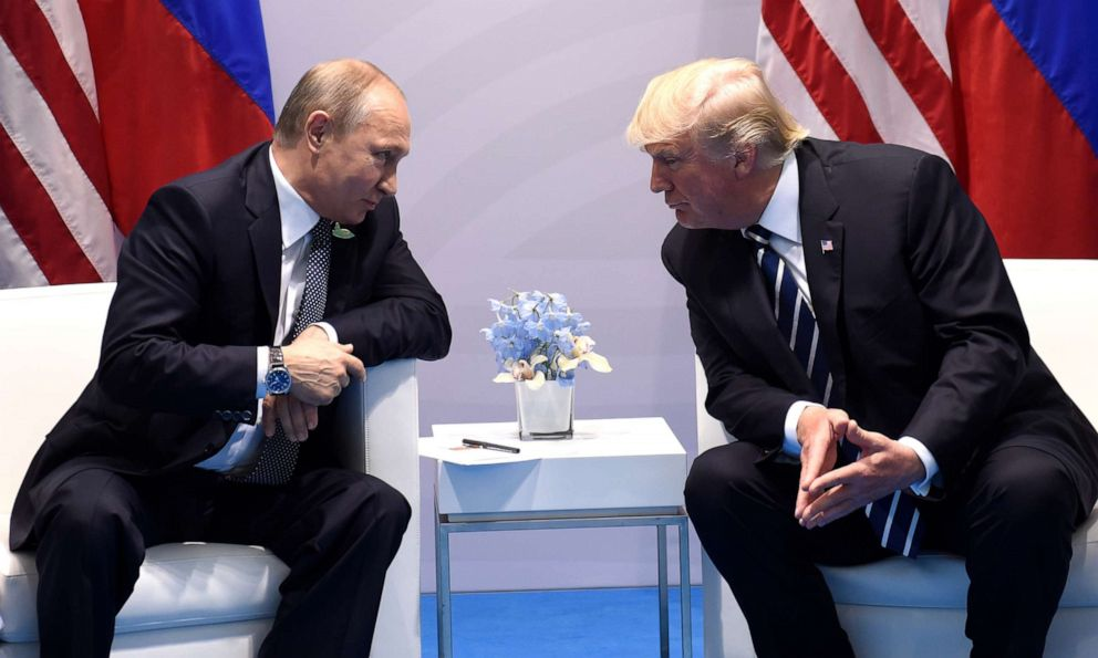 PHOTO: US President Donald Trump and Russias President Vladimir Putin hold a meeting on the sidelines of the G20 Summit in Hamburg, Germany, on July 7, 2017.