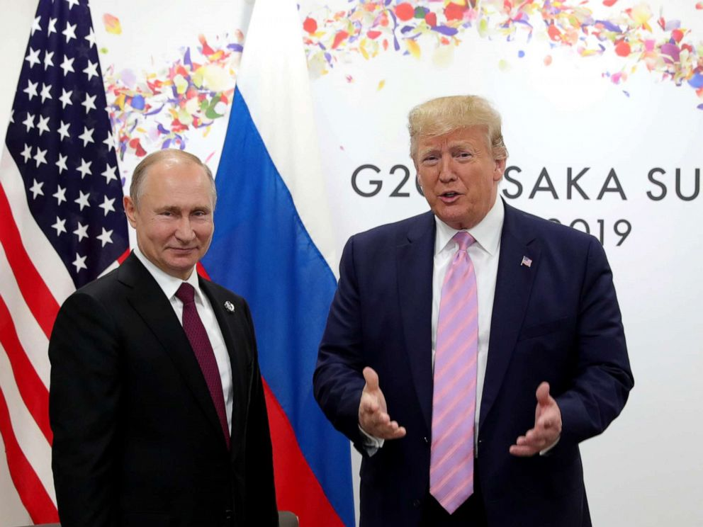 PHOTO: Russian President Vladimir Putin and President Donald Trump hold a meeting on the sidelines of the G-20 summit in Osaka, June 28, 2019.