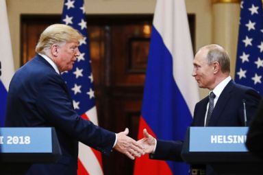 PHOTO: President Donald Trump shakes hand with Russian President Vladimir Putin at the end of the press conference at the Presidential Palace in Helsinki, Finland, July 16, 2018.