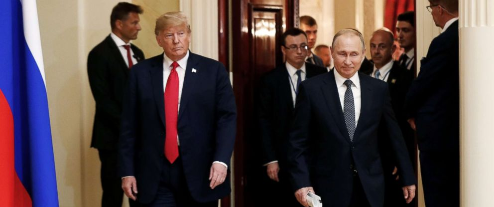PHOTO: President Donald Trump and Russias President Vladimir Putin arrive to hold a joint news conference after their meeting in Helsinki, July 16, 2018.