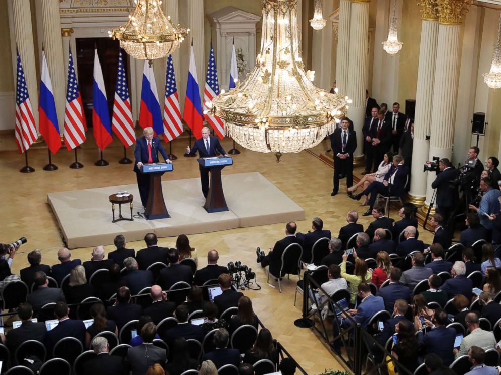 PHOTO: President Donald Trump and Russian President Vladimir Putin hold a press conference after their meeting at the Presidential Palace in Helsinki, Finland, July 16, 2018.