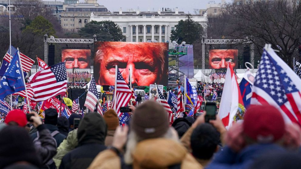 PHOTO: Trump supporters participated in a rally, Jan. 6, 2021 in Washington. As Congress prepares to affirm President-elect Biden's victory, thousands have gathered to show their support for President Trump and his baseless claims of election fraud.