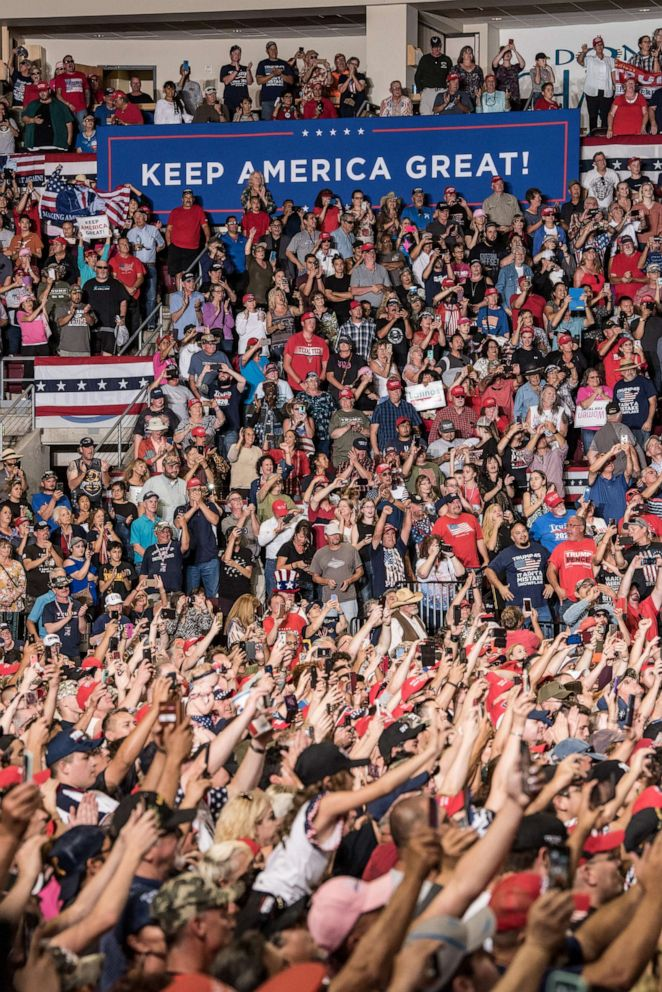 PHOTO: Supporters watch President Donald J. Trump speak during his Keep America Great Rally on September 16, 2019 at the Santa Ana Star Center in Rio Rancho, New Mexico.