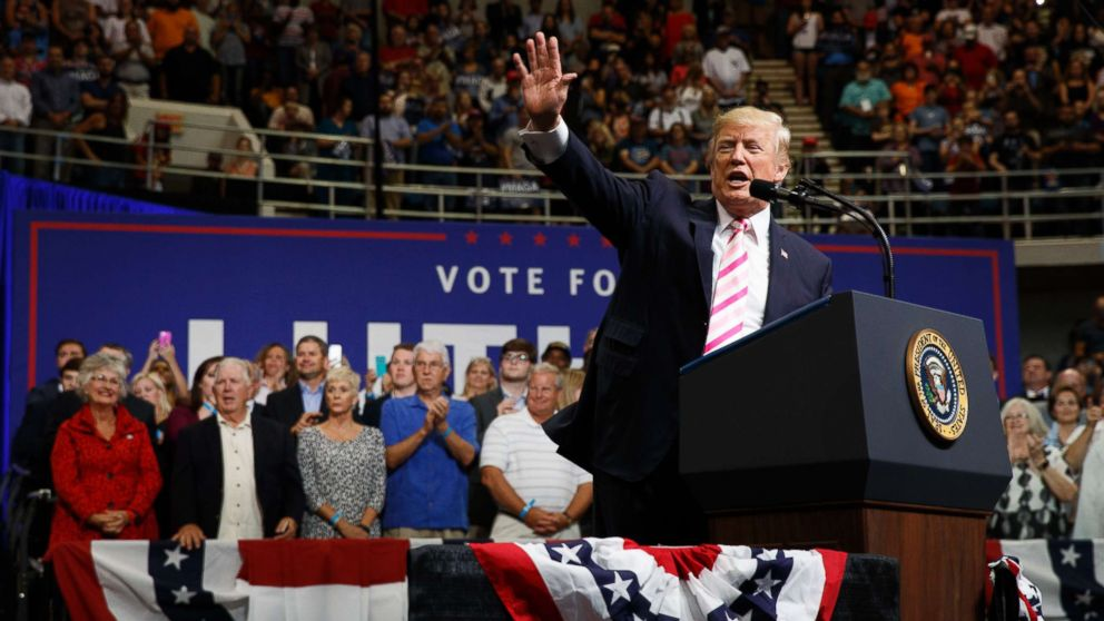 President Donald Trump speaks during a campaign rally for Senate candidate Luther Strange, Sept. 22, 2017, in Huntsville, Ala.