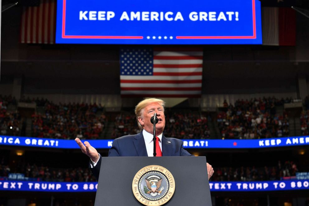 PHOTO: President Donald Trump speaks during a Keep America Great rally at the American Airlines Center in Dallas on Oct. 17, 2019.