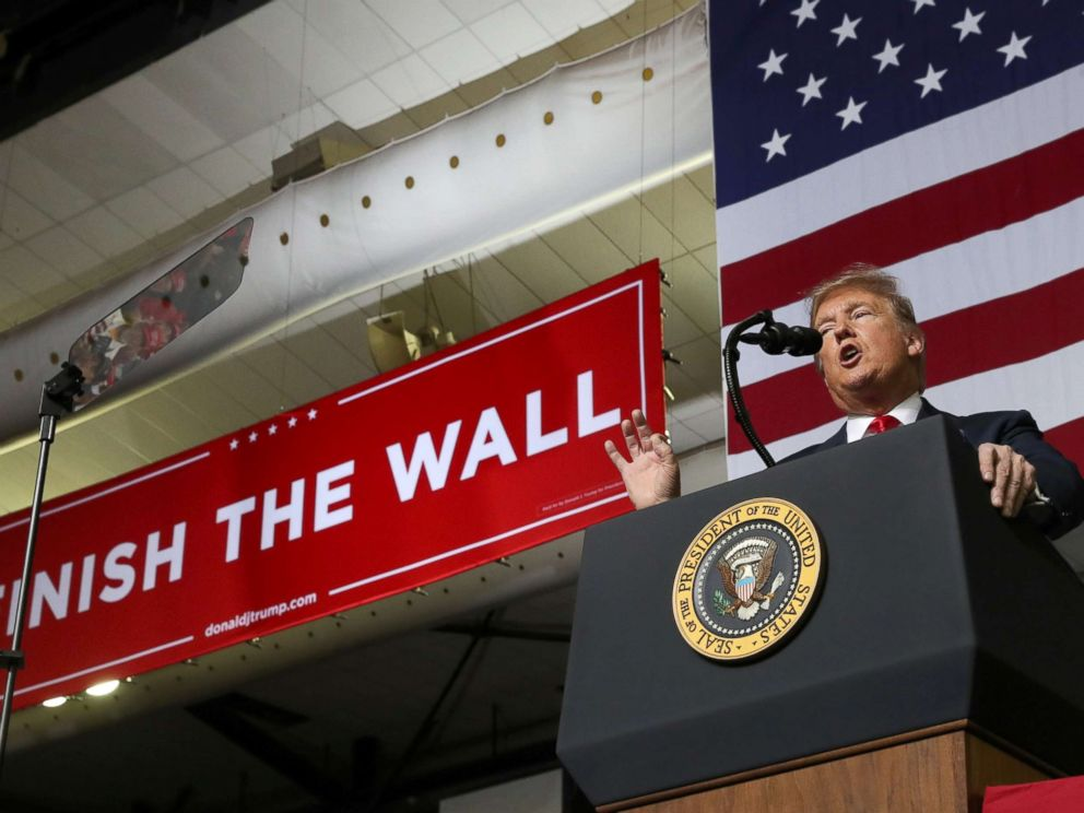 PHOTO: President Donald Trump speaks during a campaign rally at El Paso County Coliseum in El Paso, Texas, Feb. 11, 2019.