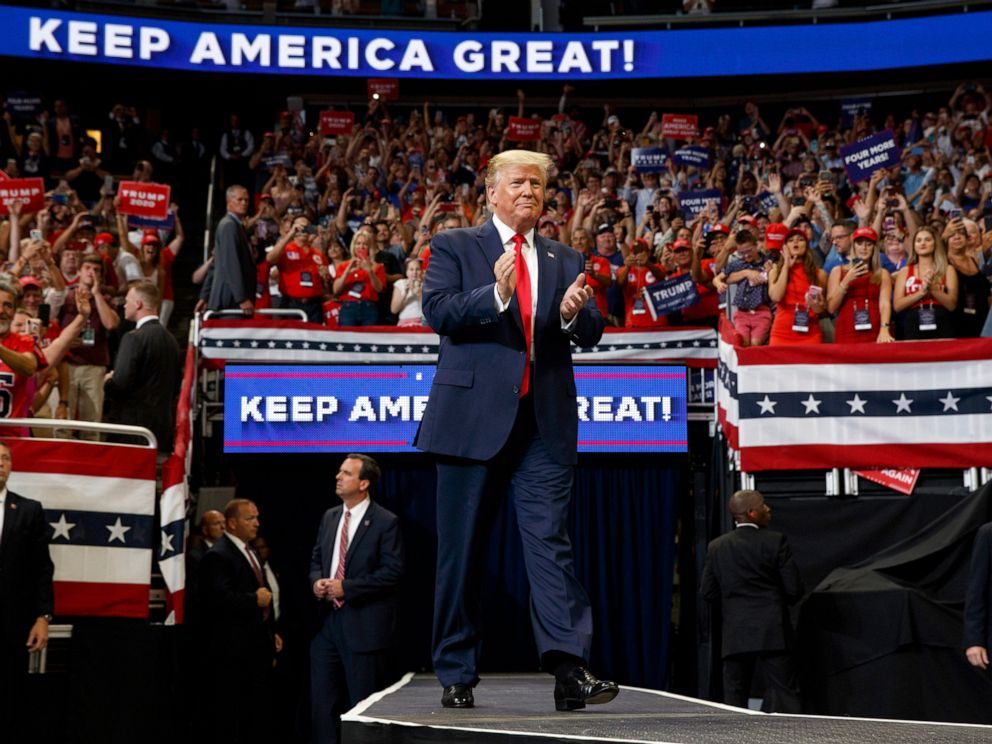 PHOTO: President Donald Trump arrives to speak at his re-election kickoff rally at the Amway Center, in Orlando, Fla., June 18, 2019.