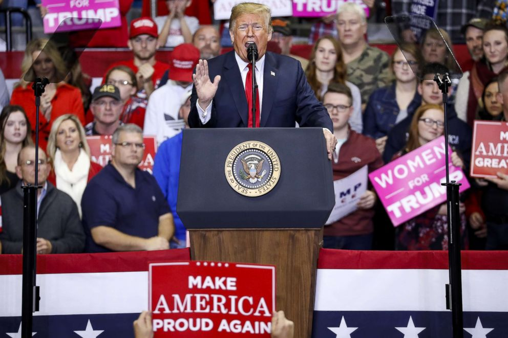 PHOTO: President Donald Trump speaks during a campaign rally for Republican Senate candidate Mike Braun at the County War Memorial Coliseum, Nov. 5, 2018, in Fort Wayne, Indiana.