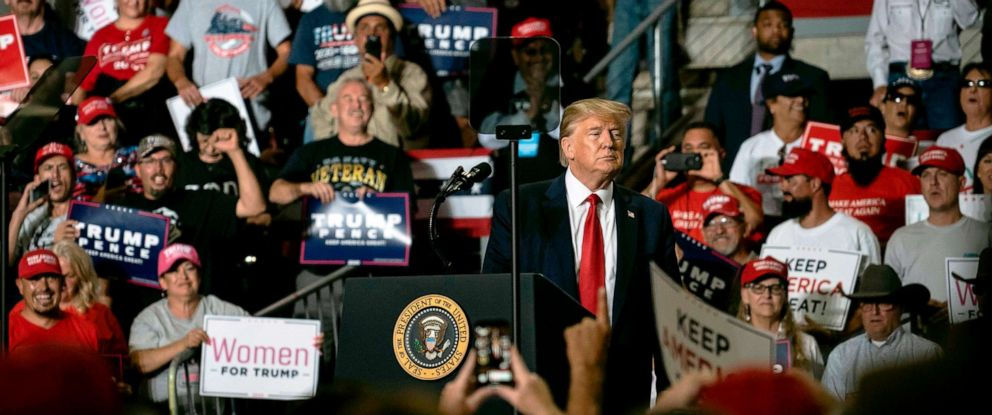 PHOTO: President Donald Trump speaks during his campaign rally in Rio Rancho, New Mexico, on Sept. 16, 2019.