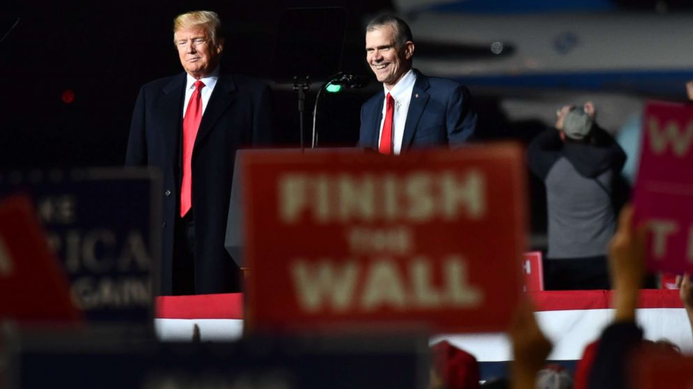 "President Donald Trump and Matt Rosendale (R), Republican Auditor and candidate for the US Senate speaks during a ""Make America Great"" rally in Missoula, Mont., Oct. 18, 2018."