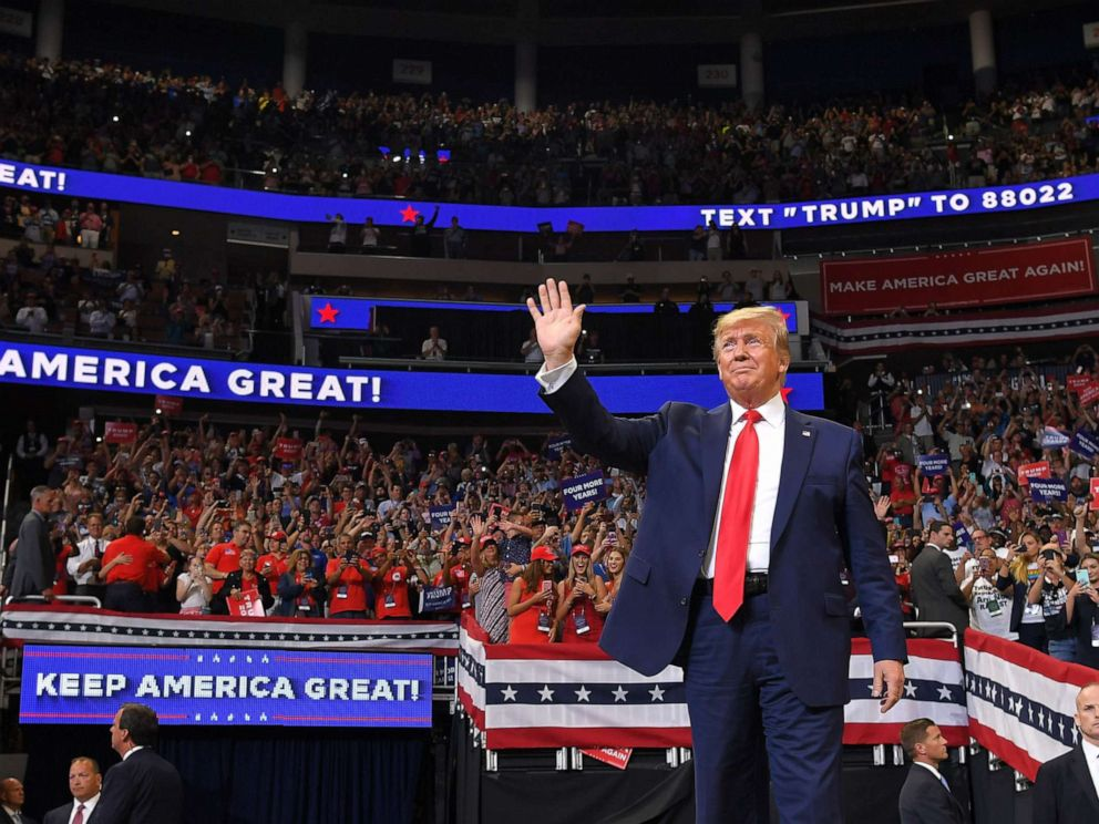 PHOTO: In this file photo, President Donald Trump arrives to speak during a rally at the Amway Center in Orlando, Fla. to officially launch his 2020 campaign on June 18, 2019.