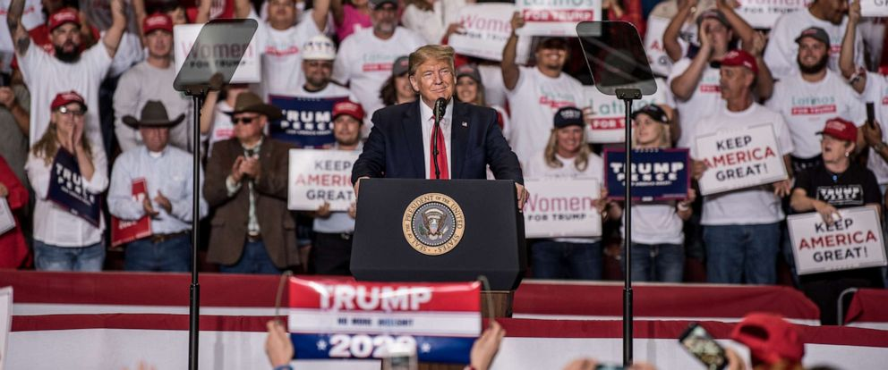 PHOTO: President Donald J. Trump speaks during his Keep America Great Rally on September 16, 2019, at the Santa Ana Star Center in Rio Rancho, New Mexico.