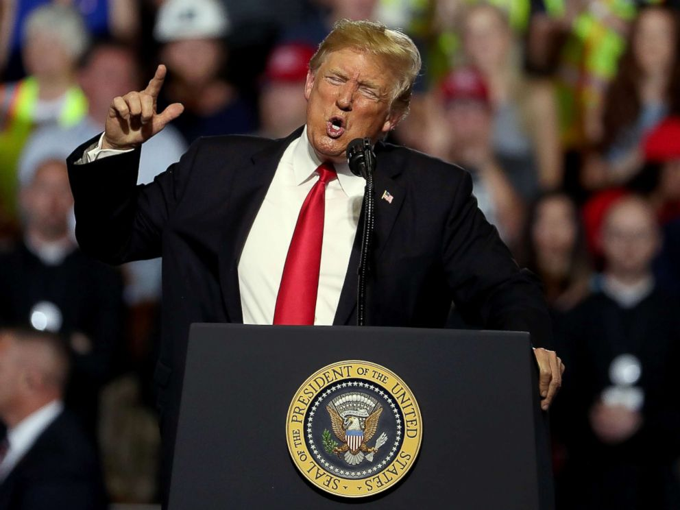 PHOTO: President Donald Trump speaks during a campaign rally at Four Seasons Arena on July 5, 2018 in Great Falls, Mont.