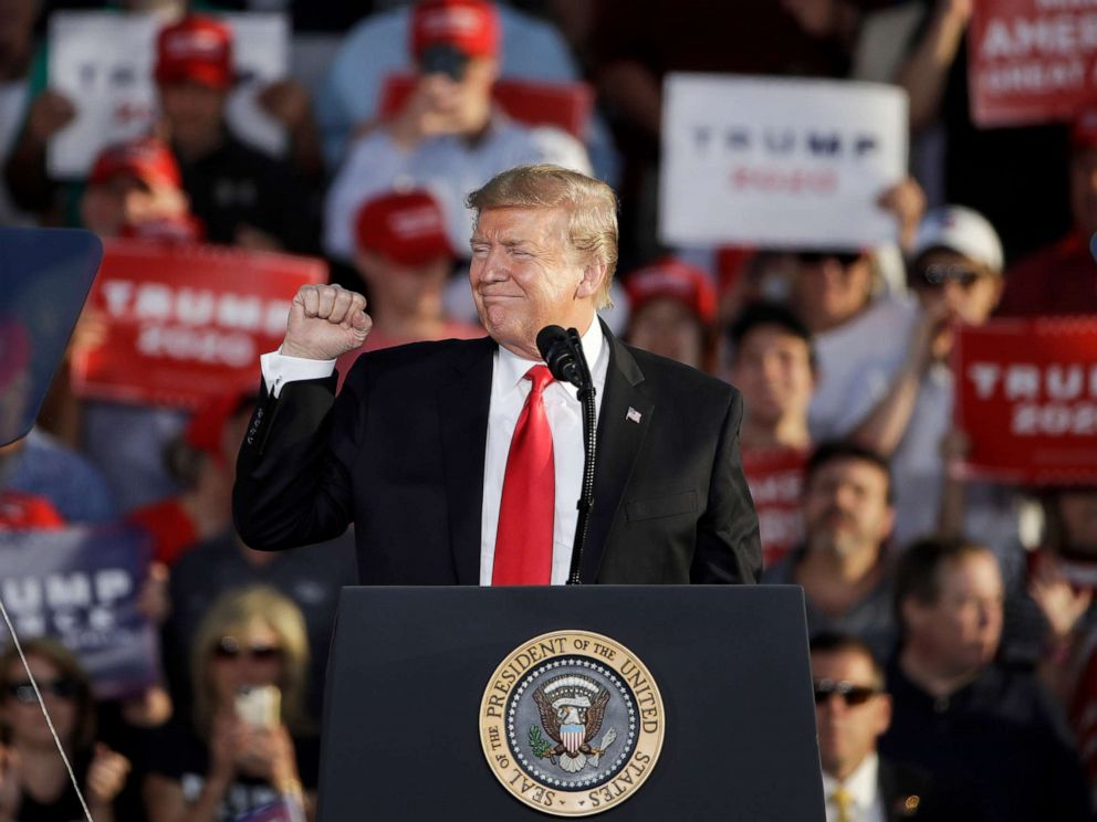 PHOTO: President Donald Trump gestures during a campaign rally in Montoursville, Pa., May 20, 2019.