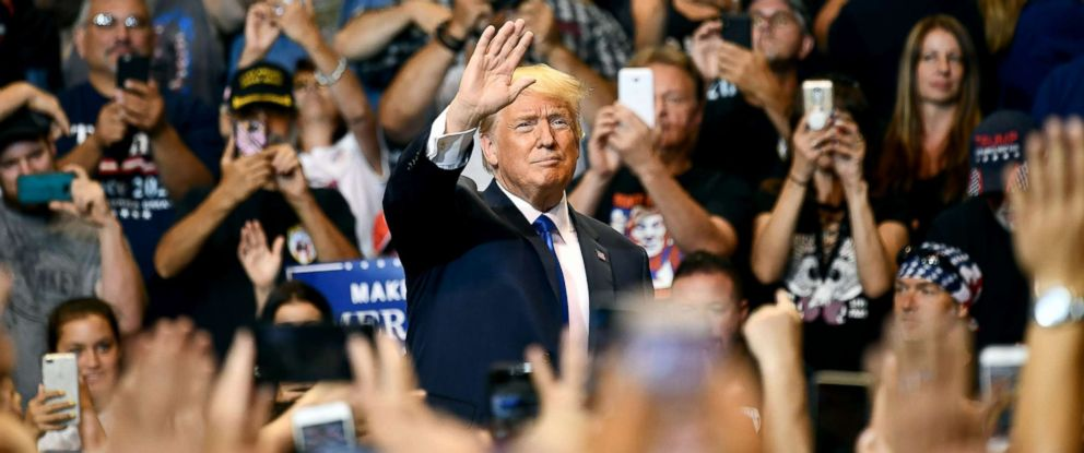 PHOTO: Supporters cheer upon the arrival of US President Donald Trump for a political rally at Mohegan Sun Arena in Wilkes-Barre, Pennsylvania, Aug. 2, 2018.