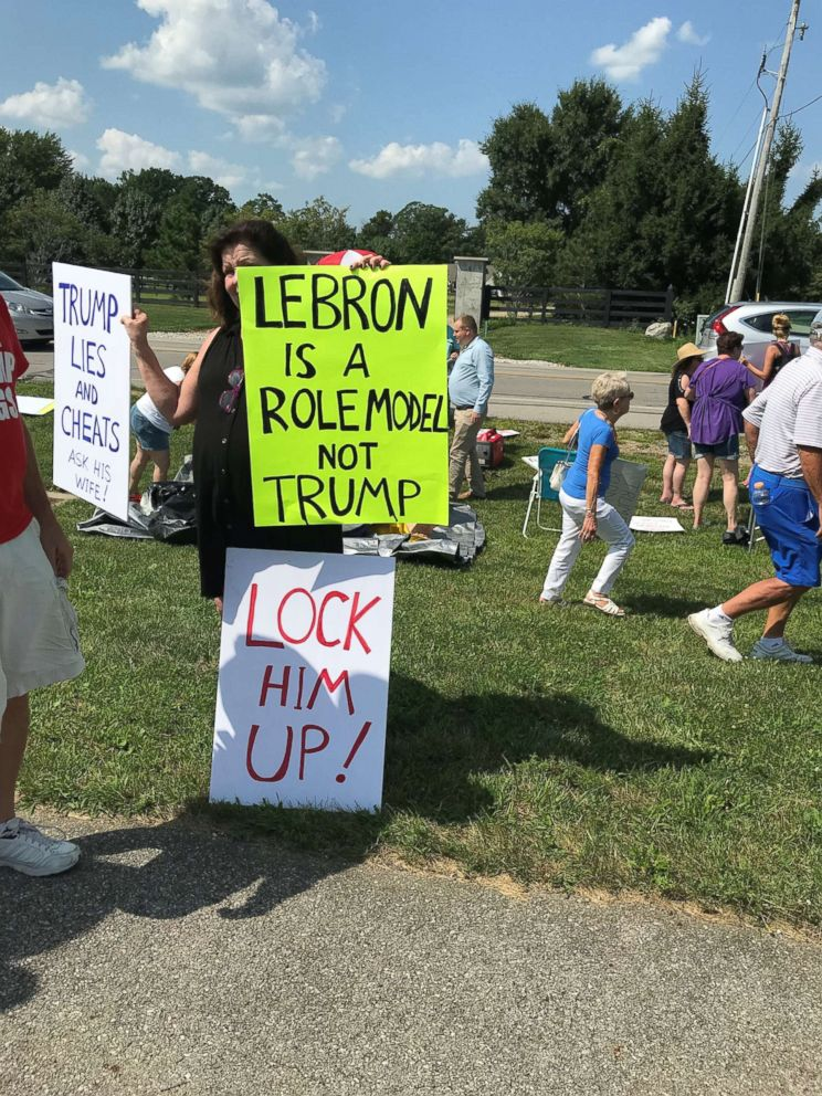 PHOTO: Protesters demonstrated outside of Trumps rallies last week in Lewis Center, Ohio, Aug. 4, 2018.
