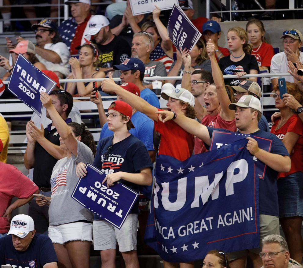 PHOTO: Supporters of President Donald Trump cheer at a campaign rally in Greenville, N.C., July 17, 2019.
