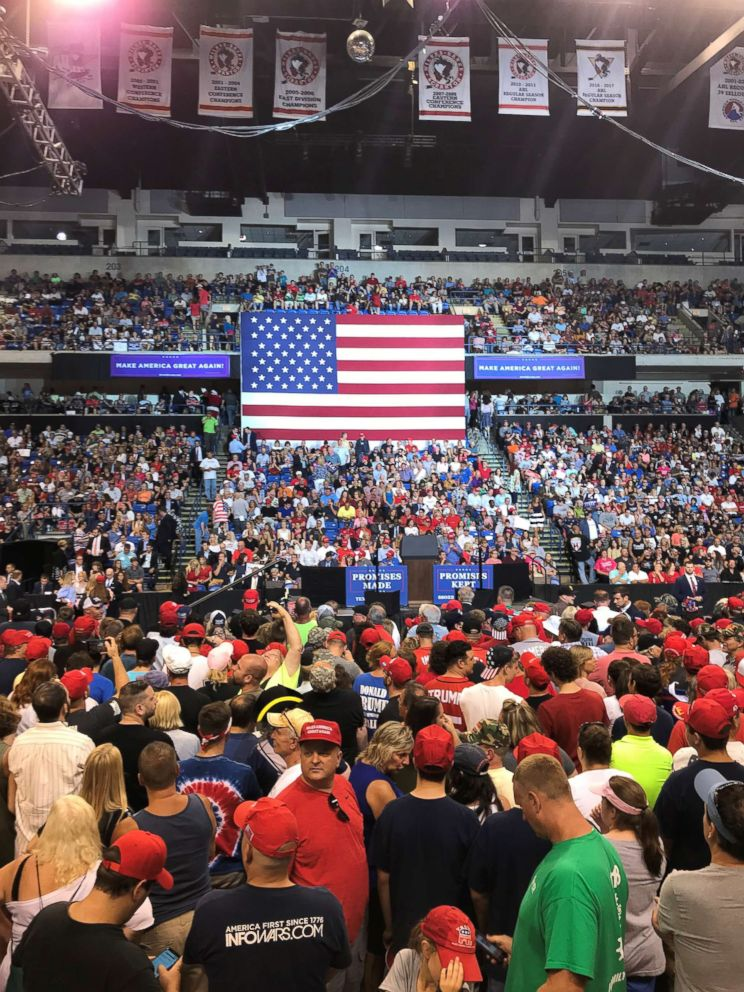 PHOTO: Trump supporters who attended his rallies treated reporters with a mix of hatred and friendliness on Aug. 2, 2018, in Wilkes-Barre, Pa.
