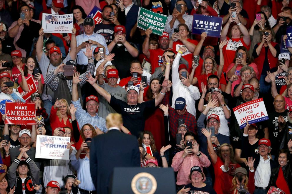 PHOTO: Members of the audience cheer as President Donald Trump leaves the stage at the end of a campaign rally, Nov. 5, 2018, in Cape Girardeau, Mo.