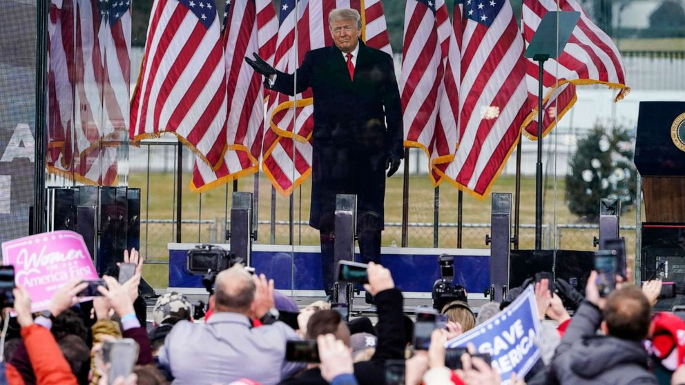 PHOTO: President Donald Trump arrives to speak at a rally Wednesday, Jan. 6, 2021, in Washington D.C.