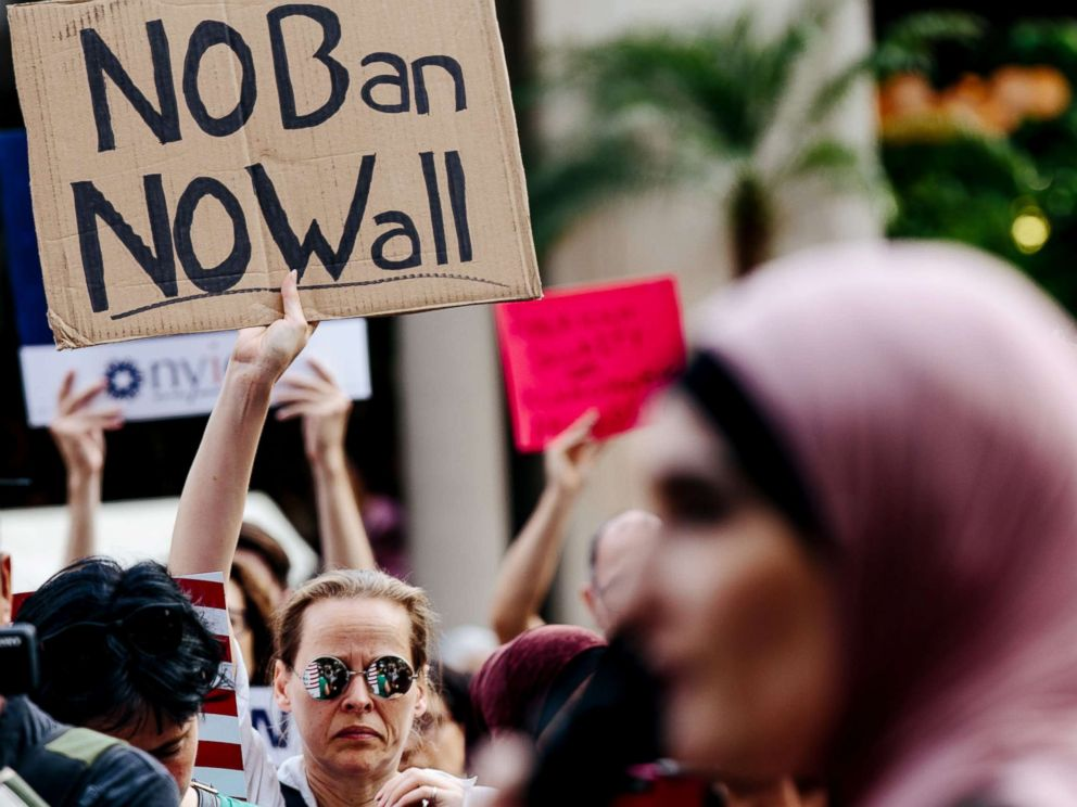 PHOTO: People participate in a rally to protest the separation of families under President Donald Trumps travel ban in New York, June 29, 2017.